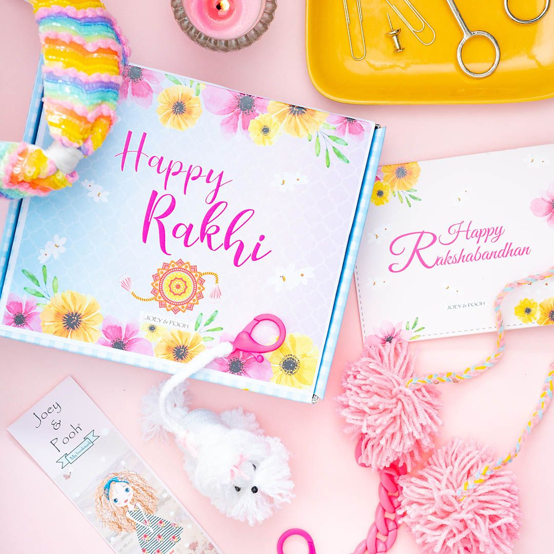 RAKHI GIFT BOX WITH FIFI AND POMPOM MASK CHAIN